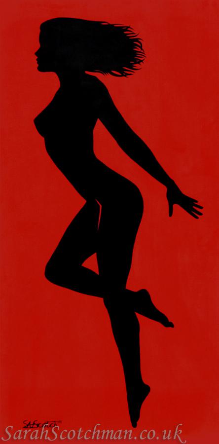 Sarah Scotchman Rita Black Part of the Bond Girl Series Acrylic on Box Canvas 60 x 120cm