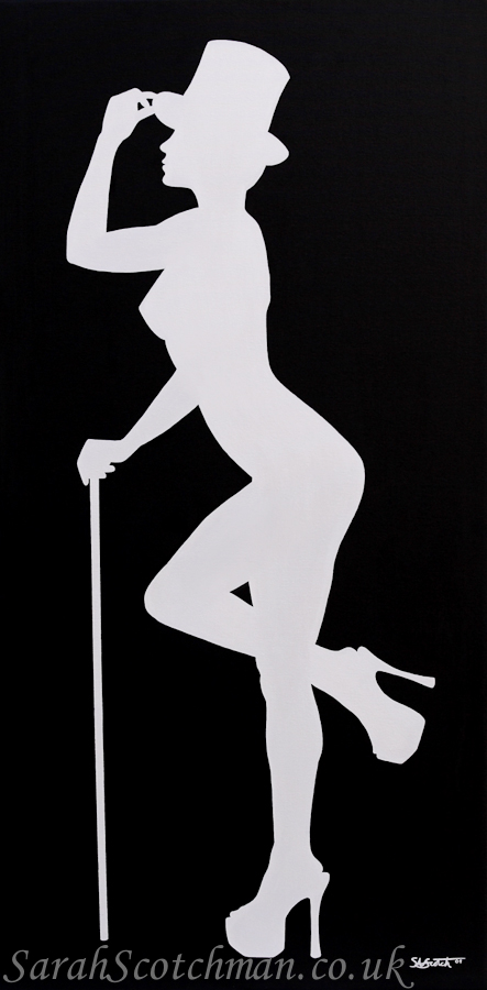 Sarah Scotchman Showtime Silver Part of the Bond Girl Series Acrylic on Box Canvas Original SOLD