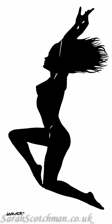 "Sarah Scotchman Silhouette, Black on White Part of the Bond Girl Series Acrylic on Box Canvas Original SOLDVariable Edition Canvas Print Available,(new line) 20"" x 40"""