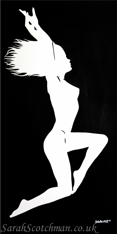 "Sarah Scotchman Silhouette, White on Black Part of the Bond Girl Series Acrylic on Box Canvas Original SOLD Variable Edition Canvas Print Available,(new line) 20"" x 40"""