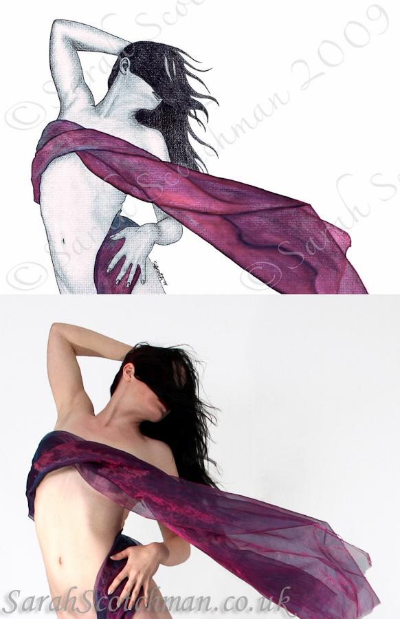 Sarah Scotchman Purple Breeze II Watercolour & Conté on Board 37 x 27cm Photo Courtesy of El Diablo Blanco