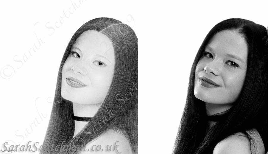 Sarah Scotchman Self Portrait Pencil Drawing