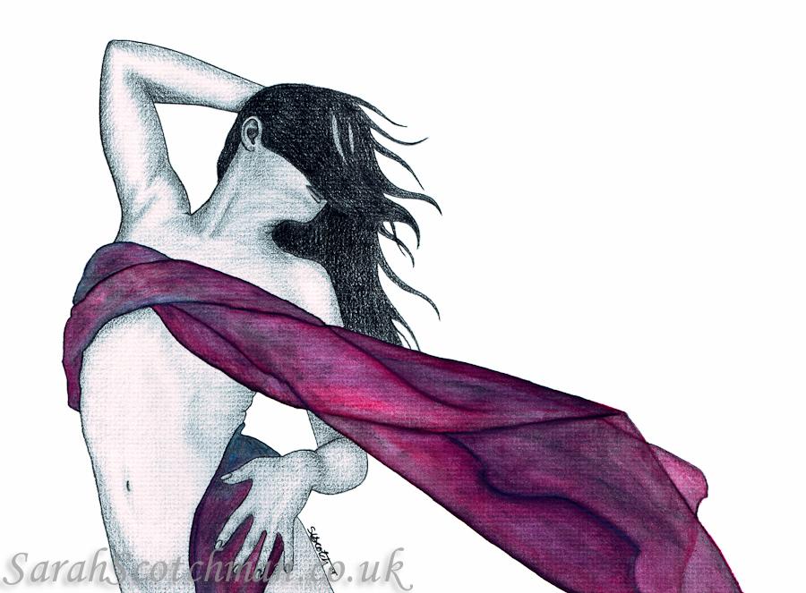 Sarah Scotchman Purple Breeze II Watercolour & Conté on Board 37 x 27cm