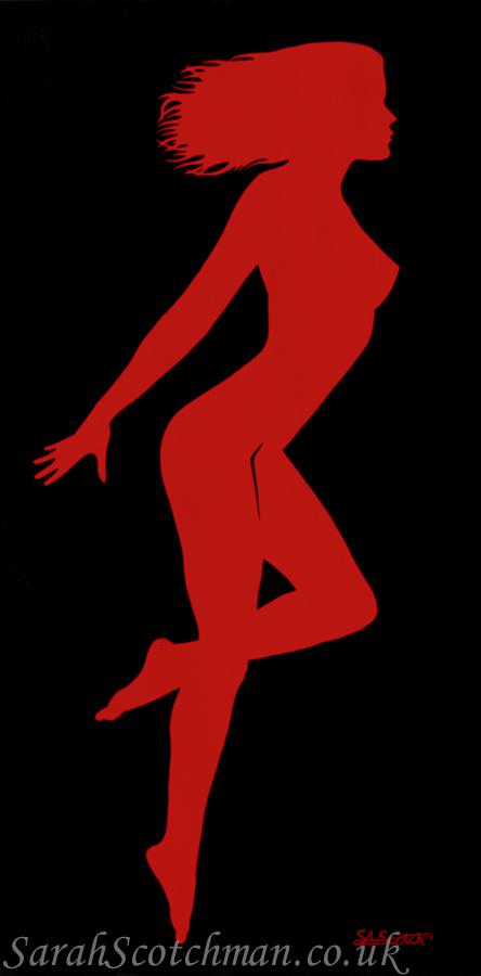 Sarah Scotchman Rita Red Part of the Bond Girl Series Acrylic on Box Canvas 60 x 120cm