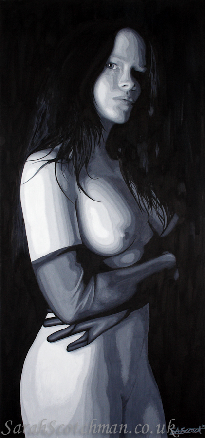 Sarah Scotchman Self Portrait in Oil Acrylic on Box Canvas Original SOLD  A3 Limited Edition Giclée Prints Available - £85