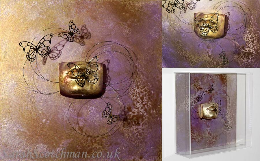 Sarah Scotchman Butterfly Kiss Mixed Media Life Cast in Acrylic Case 30 x 30cm £POA