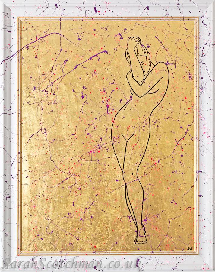 Sarah Scotchman Stay Gold Metal Leaf & Enamel on Acrylic  75 x 100cm  £SOLD